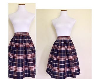 Plaid Midi High Waisted Skirt
