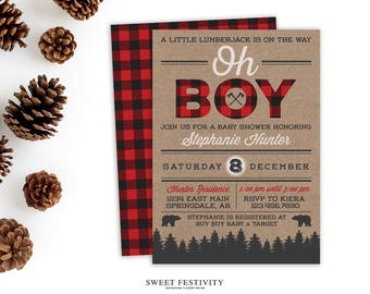 Lumberjack Baby Shower Invitation, Lumberjack Party, Buffalo Plaid Invitation, Plaid Party, Woodland Invitation, Printable Invitation