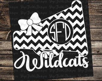 Wildcats Cheer Monogram (other teams avail upon request)SVG, JPG, PNG, Studio.3 File for Silhouette, Cameo, Cricut Chevron Megaphone