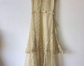 1930s Tambour Lace Wedding Gown