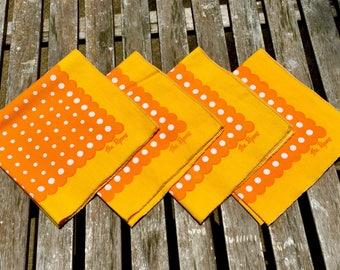 "Set of 4, retro 1960s cloth napkins. Orange, yellow & white, vintage mid century mod polka dots and scallops. ""The Ryans"" personalized"