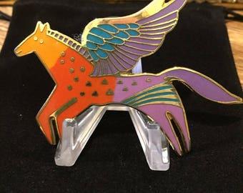 Laurel Burch Vintage Winged Horse Brooch Enamel Gold Tone HTF Beautiful Colors