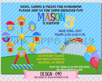 Amusement Park, Rides, Games, Carnival:Design #090-Children's Birthday Invitation, Personalized, Digital, Printable, 4x6 or 5x7 JPG