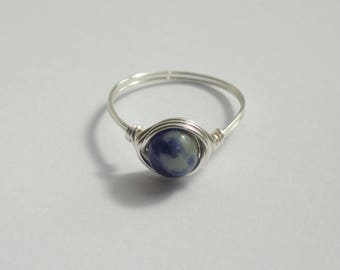 Sodalite gemstone wire wrapped ring, Silver sodalite wire wrapped ring, Gemstone ring, Blue stone ring