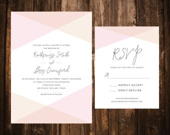 Blush & Tan Geometric Wedding Invitations; Neutral; Simple; Printable OR set of 25