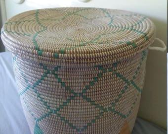 Huge Laundry Basket in Pastel Tones, Flat Lid Handwoven Hamper,End table,Girls Room