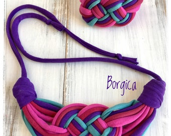 Purple turquoise set recycled fabric jewelry, necklace and bracelet, upcycled textile jewellery, boho style, tshirt yarn necklace,eco,soft