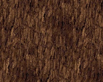 Rich Brown Tree Bark Fabric, Northcott, Naturescapes Woods, Landscape Fabric, 21381-36 (By 1/2 Yard)
