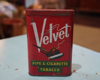 Velvet Pipe & Cigarette Tobacco Vertical Pocket Tin with Hinged Lid-Red Tin