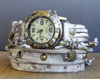 Distressed White Wrap Watch,  Womens leather watch, Bracelet Watch, Chain Wrist Watch, Fashion Watch