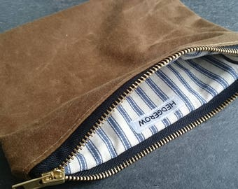 Waxed Canvas Pouch, Zipped Case, Clutch, Purse, Wallet