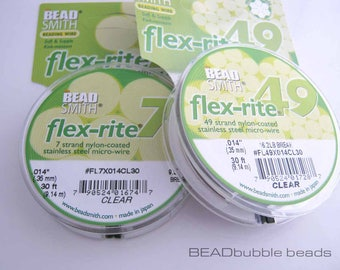 "One Reel 0.35mm (0.014"") Flex-Rite Clear Beading Wire, 9 metre (30ft), 7 Strand or 49 Strand, Wire for Jewellery Making"
