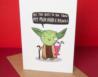 Yoda's Milkshake - Star Wars Milkshake Mashup Parody Greeting Card - Birthday Card - Funny card - Katie Abey