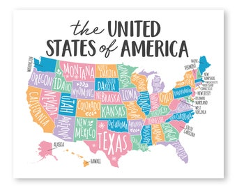 Map Of United States Etsy - Us wall map for kids