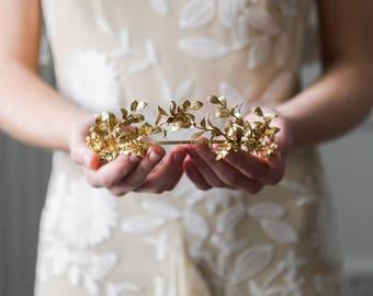 Myrtle Tiara, Gold Tiara, Antique German Tiara, Gold leaf tiara, wedding tiara, vintage tiara, leaf tiara, flower crown, boho #113