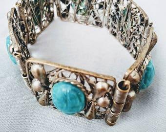 1920s Egyptian Revival Filigree Blue Scarab Link Bracelet Silver Plate