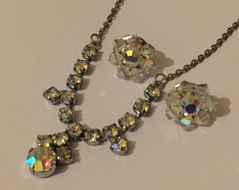 Vintage AB Crystal Swag Necklace And Earrings, Aurora Borealis Bridal Jewellery