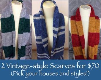 Harry Potter Scarves 2 for 70, Hogwarts house scarves, vintage-style, mix and match