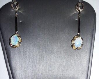 14k vintage opal dangle earrings