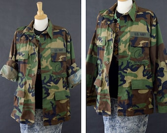 Camouflage Jacket, 90s Grunge Camo Coat, US Navy Seabees Camo Field Jacket, Oversized Camo Jacket, Size Medium Regular Unisex Navy Jacket