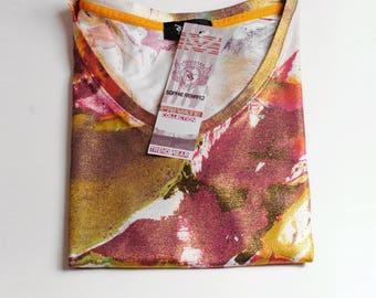 beautiful iridescent viscose color mesh tee shirt v neck spice