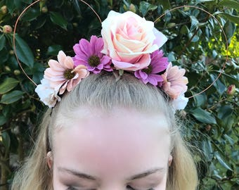 Pastel Purple Pink & Cream Rose Daisy Disney Floral Wire Mickey Mouse Ear Headband Handcrafted