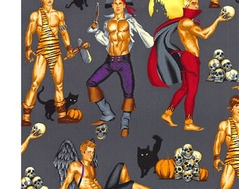 END OF BOLT - 24 inches (2/3 yard) Haunting Hunks in Grey by  Alexander Henry Fabric by the Yard Gray Haunted Halloween Pin Ups