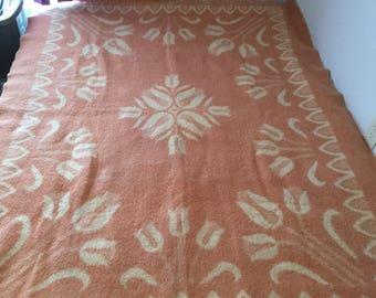 """Vintage DEKENS Holland Wool Reversible Dutch Tulip Blanket 84""""x64"""""""