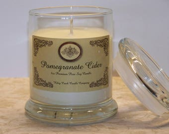 Pomegranate Cider Premium Holiday Scent Pure Soy Candle 8oz