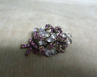 Vintage Brooch Pink Rhinestones Crystals on Gold Tone Metal