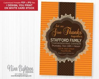 Classic Thanksgiving Dinner invitation. Custom Printable PDF/JPG. I design, you print.