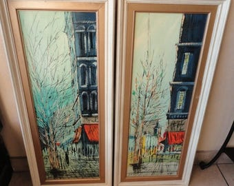 30% Off Summer Sale Fab Vintage Pair of Framed Mid Century Impressionist Paintings Oil on board, Signed by Artist