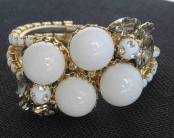 Milk Glass Cabochon & Black Diamond Rhinestone Hinged Clamper Bracelet