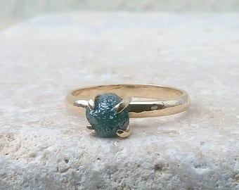 Rough Blue Diamond Ring, Raw Diamond Gold Ring, Engagement Ring, Rough Diamond 14 kt Gold Ring