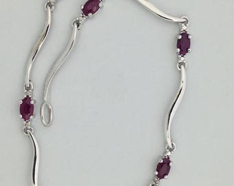 Natural Ruby with Diamond Accent Bracelet 925 Sterling Silver