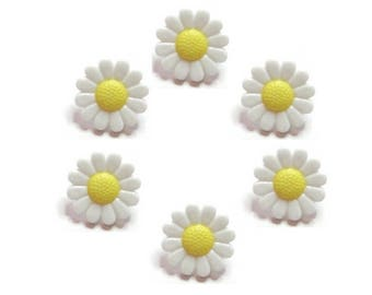 6 buttons 13 mm yellow daisy flowers