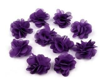 Set of 10 small flowers purple violet fabric NET