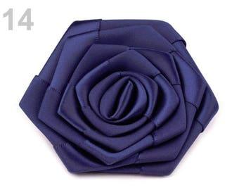2 flowers satin Navy Blue 7 cm