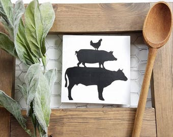 Farm Animal Stacked Magnet - Cow Pig Chicken - Farmhouse Magnets - Farmhouse Kitchen Decor - Kitchen Decor - Kitchen Magnets - FREE SHIPPING