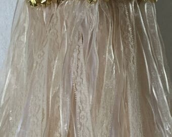 50 Wedding Wands/Wedding Ribbon Wands/Wedding Wand/Wedding Streamers/Ivory sheer and Natural Lace