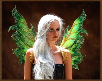 Adult Fairy Wings**RTS**Iridescent Gold/Green**FREE SHIPPING**Costume/Masquerade/Cosplay/Weddings/Renn Faires/Photo shoots