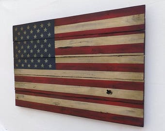 Rustic American Wooden Flag, 20 X 30 inches. Made from recycled fencing. Free Shipping C