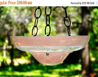 40% OFF SALE Hanging glass bird feeder - vintage bird bath - vintage glass bird feeder