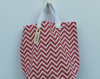Small Canvas Bag: Coral Chevrons, washable