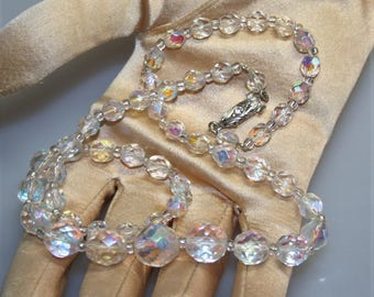 Czech Cut Crystal Beads Vintage Necklace Faceted Aurora Borealis