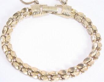 Vintage Goldette Link Bracelet 60s Gold Tone