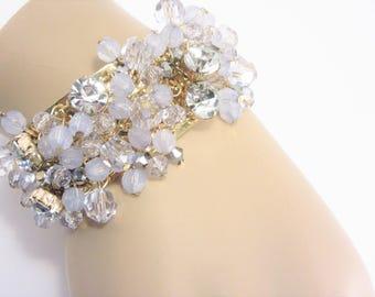 Wide Vintage Cha Cha Rhinestone and Crystal Cuff Bracelet