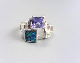 Vintage 90s Mod Faux Blue Opal Amethyst Sterling Ring Size 7