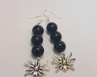 Spider earrings, chunky earrings, goth earrings, gothic jewelry, chunky jewelry, black dangly earrings, spider jewelry, emo earrings,