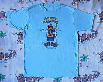 Vintage 80's Happy Camper Colorado T shirt, size Large cartoon mountains Novelty tee